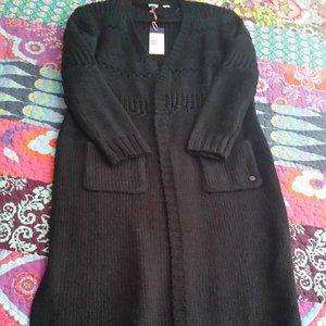 Roxy Black Full Length Open Sweater Size XS NWT